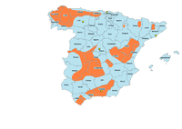 Principales áreas de actividad del maquis (en color naranja, áreas rurales, en amarillo ciudades que registraron una mayor actividad).