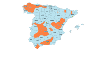 Spanish Maquis - Principal areas of Maquis activity within Spain (orange), 1939-1965.
