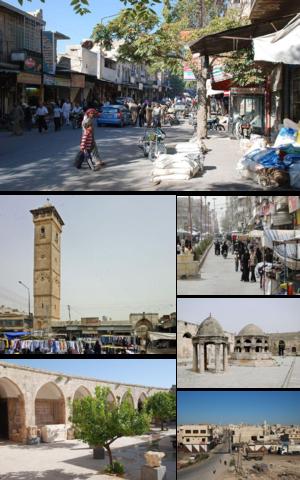 Maarrat al-Nu'man - A collage of Maarat al-Numan showing city's important landmarks.