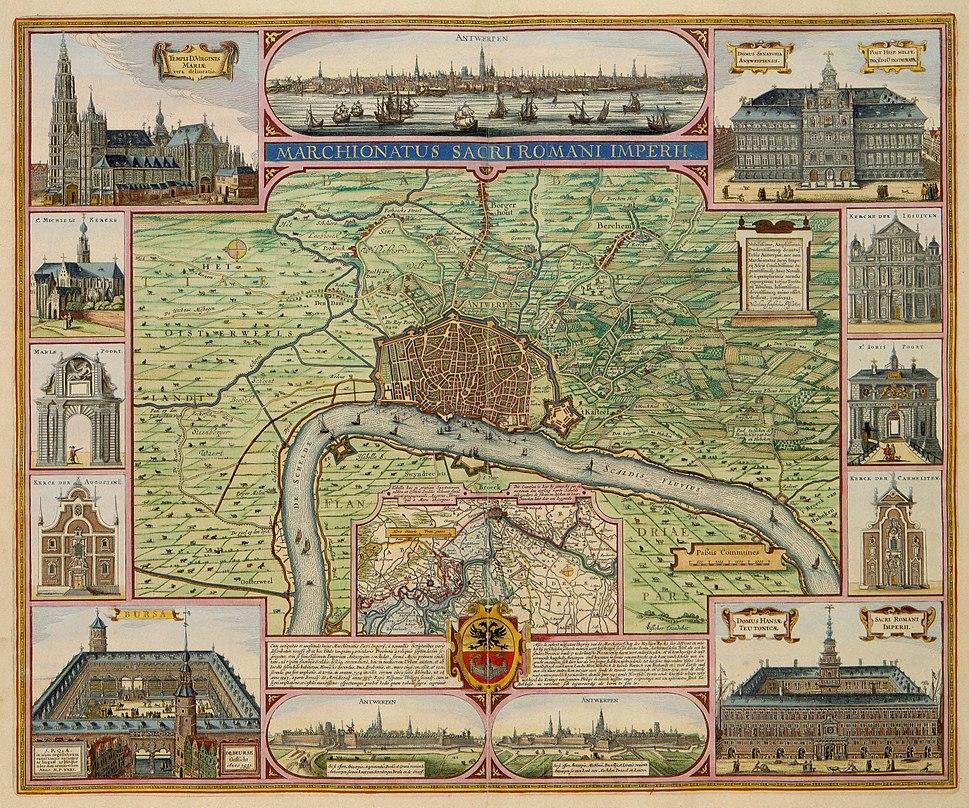 Marchionatus Sacri Romani Imperii - Antwerpen, het markgraafschap en de belangrijkste gebouwen (Claes Jansz. Visscher, 1624)