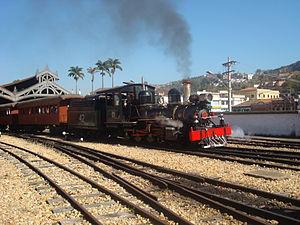 Estrada de Ferro Oeste de Minas - Maria Fumaça of EFOM in São João del-Rei station