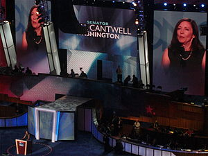 Maria Cantwell - Cantwell speaks during the second day of the 2008 Democratic National Convention in Denver, Colorado.