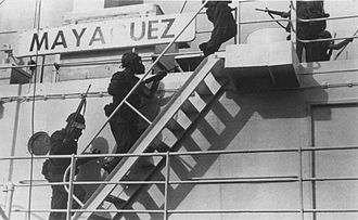 Mayaguez incident - U.S. Marines from 1st Battalion 4th Marines boarding the ship on 15 May