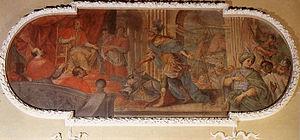 Giuseppe Antonio Caccioli - Painting by Caccioli representing Mario Scoto and Pope Leo III