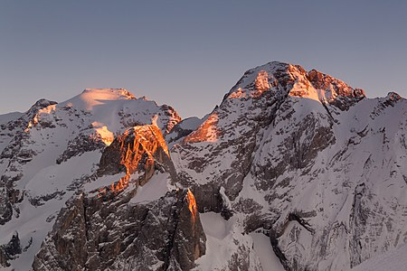 Mt. Marmolada at the sunset