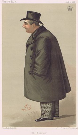 """George Brudenell-Bruce, 4th Marquess of Ailesbury - """"the Marquis"""" William Brudenell-Bruce, 4th Marquess of Ailesbury, as caricatured by Liborio Prosperi in Vanity Fair, April 1888"""
