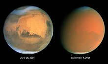 Two orange-hued disks. The one at left shows distinct darker regions along with cloudy areas near the top and bottom. In the right image, features are obscured by an orange haze. An white ice cap is visible at the bottom of both disks.