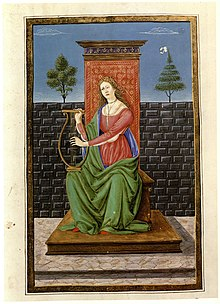 illumination of allegorical female figure from fifteenth-century manuscript