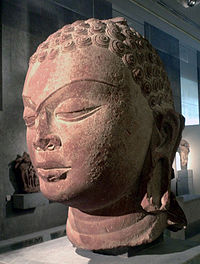 large stone Head of a Buddha, Gupta period, 6th century.
