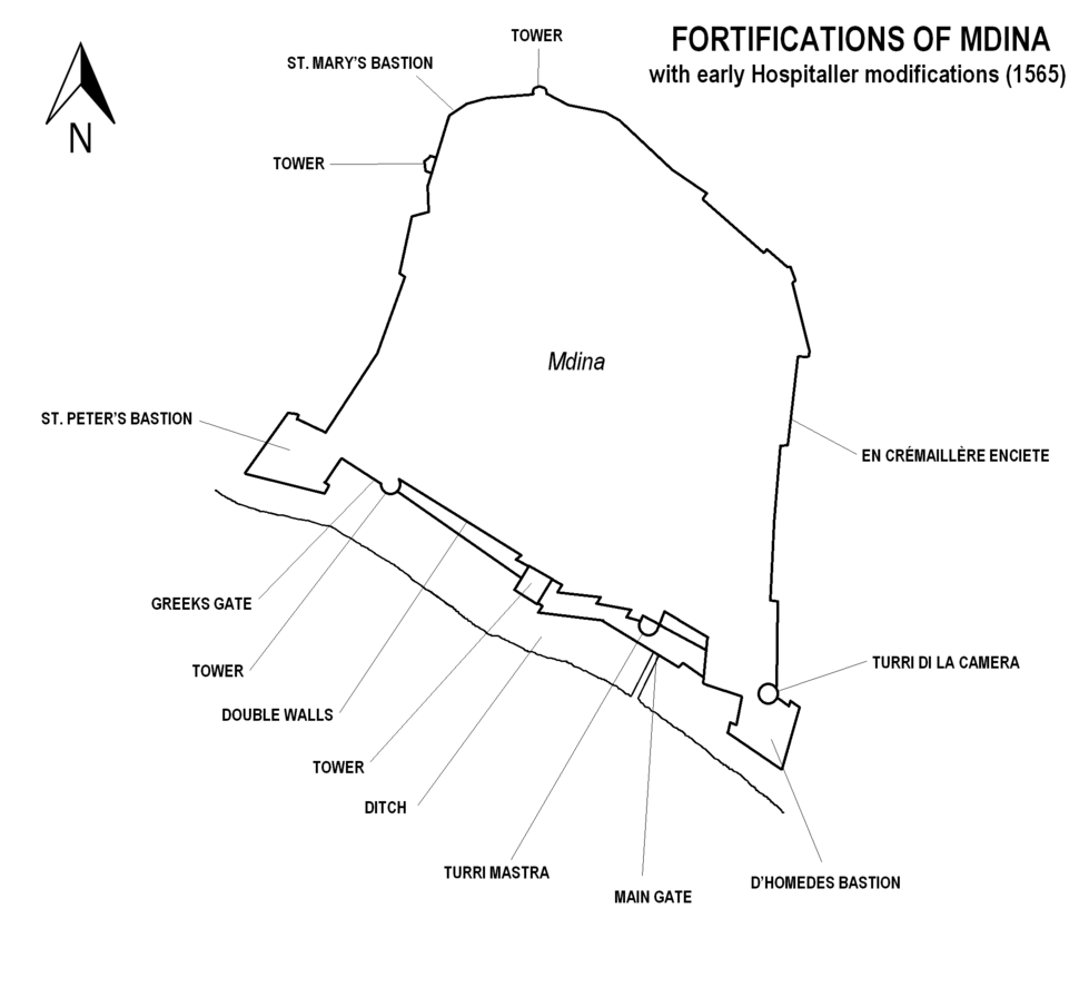 Mdina fortifications map 1565