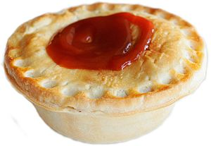 Australiana - A typical Australian meat pie with tomato sauce
