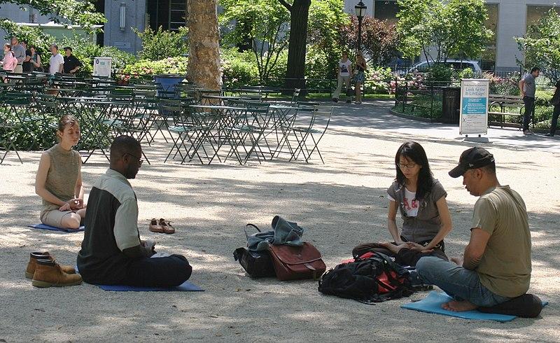 File:Meditating in Madison Square Park.jpg