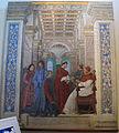 Melozzo da forlì, Sisto IV nomina Bartolomeo Platina Prefetto della Biblioteca Vaticana, 1477 ca. 01.JPG