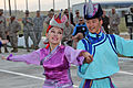 Members of the Mongolian Military Song and Dance Academic Ensemble perform a traditional dance during a Mongolian culture event as part of exercise Khaan Quest 2013 at the Five Hills Training Area in Mongolia 130804-M-DR618-034.jpg