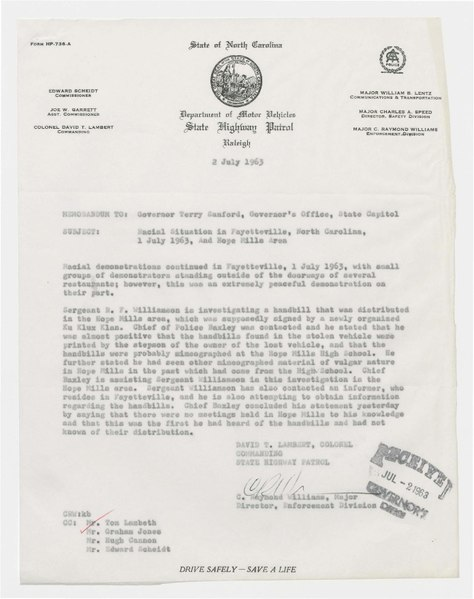 File:Memorandum to NC Governor Terry Sanford on racial tensions in Fayetteville and Hope Mills, July 1963.pdf