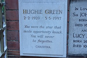 Hughie Green - Memorial plaque to Hughie Green, Golders Green Crematorium