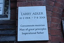 Memorial tablet to Larry Adler, Golders Green Crematorium.JPG