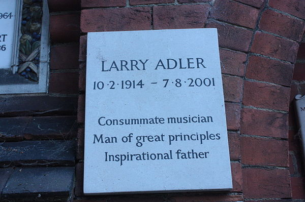 Memorial tablet to Larry Adler, Golders Green Crematorium Memorial tablet to Larry Adler, Golders Green Crematorium.JPG