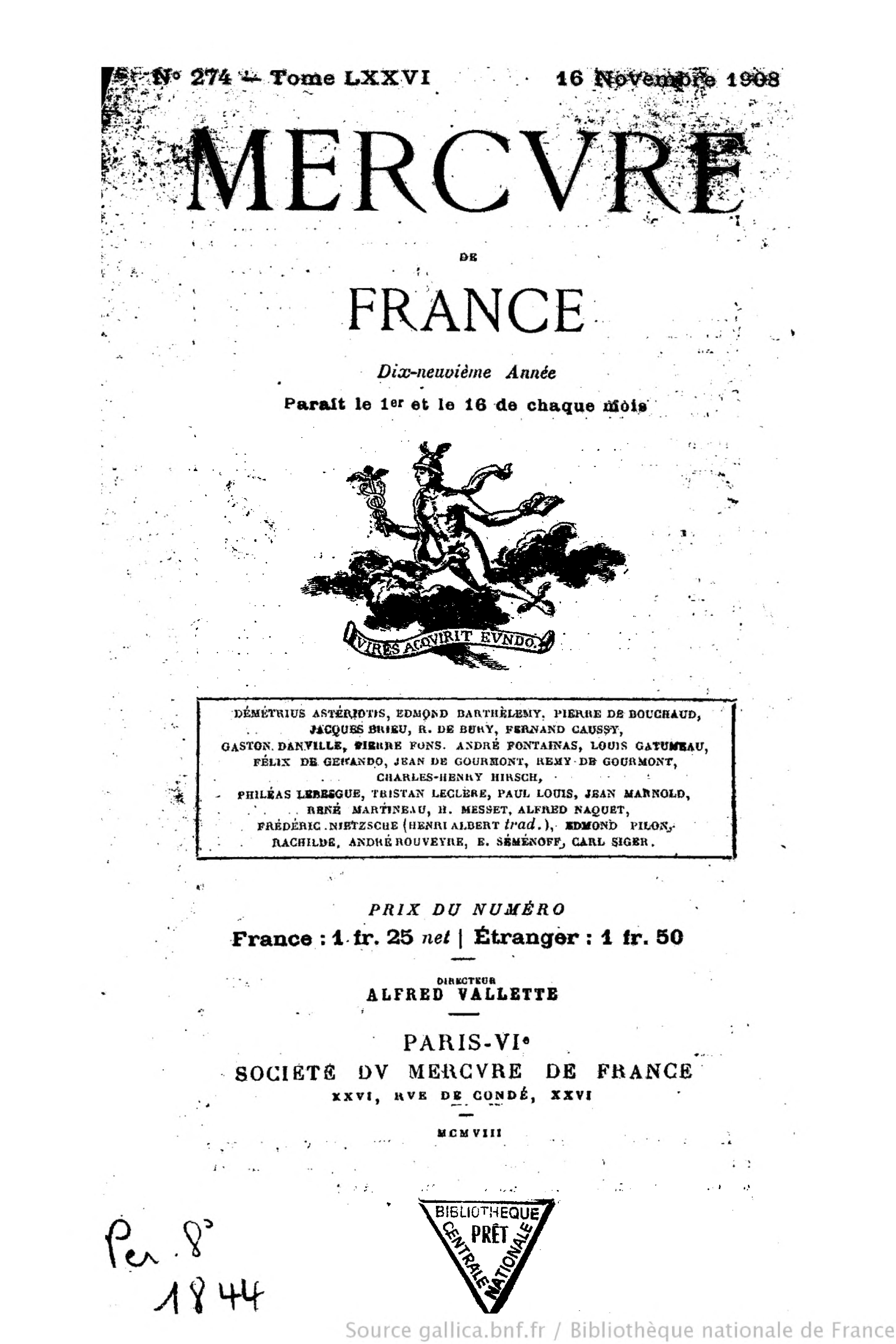 file mercure de france t 76 n 274 16 novembre 1908 djvu