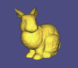 Geometry processing - A mesh of the famous Stanford bunny. Shapes are usually represented as a mesh, a collection of polygons that delineate the contours of the shape.