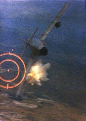 Dogfight - An F-105D shoots down a MiG-17 during the Vietnam War, June 1967.