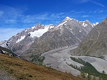 a glacier covered with rocky debris flowing down the Italian side of Mont Blanc