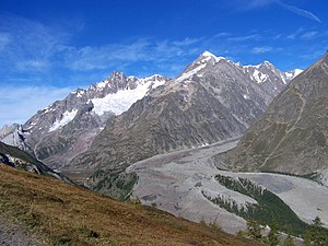 Mont Blanc massif - The Miage Glacier on the Italian side of the Mont Blanc massif