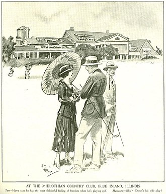 """Midlothian Country Club - The Midlothian Country Club was in the national spotlight in 1916 when this cartoon appeared in the October 7th issue of Judge magazine.  In January of that year the club had won the rights to sponsor the Western Amateur Golf Championship tournament, an honor which it had wrested away from the Omaha Country Club and the Del Monte Club of southern California. It was for this event that the Western Golf Association took the controversial step of abolishing the stymie, thus """"eliminating one of the most discussed penalties of golf...for three-fourths of the United States and all of Canada."""""""