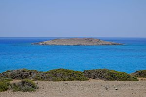 Chrysi (island) - The small island of Mikronisi, seen from the highest point of Chrysi.