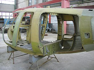 Dubove, Tiachiv Raion - A Mil Mi-34 light helicopter being assembled at Dubove's Zakarpattia Helicopter Production Enterprise