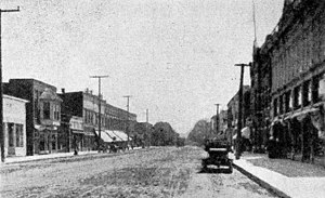 Milford, Kosciusko County, Indiana - Looking south on Main Street, 1919
