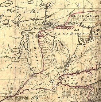 "Toledo War - ""Mitchell Map"" of the region, from the late 18th century, used to create the Ordinance Line of 1787. The southern tip of Lake Michigan is depicted as being farther north than Lake Erie."
