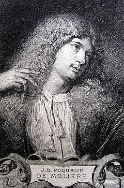 Molière, portrait à l'eau-forte par Adolphe Lalauze, d'après un tableau peint vers 1658