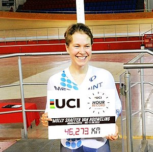 Molly Shaffer Van Houweling - Molly Shaffer Van Houweling pictured after her UCI hour record setting ride on 12 September 2015.