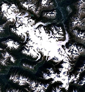 Monarch Icefield - Satellite image of the Monarch Icefield
