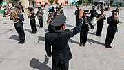 Mongolian service members assigned to the band with the 014 Construction Unit, Mongolian Armed Forces play traditional military music during the opening ceremony for Khaan Quest 2013 in Ulaanbaatar, Mongolia 130802-M-MG222-001.jpg