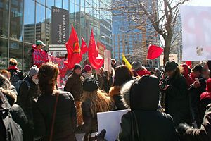 Operation Impact - Montreal for Peace demonstration against Canadian intervention in Syria and Iraq, March 2016