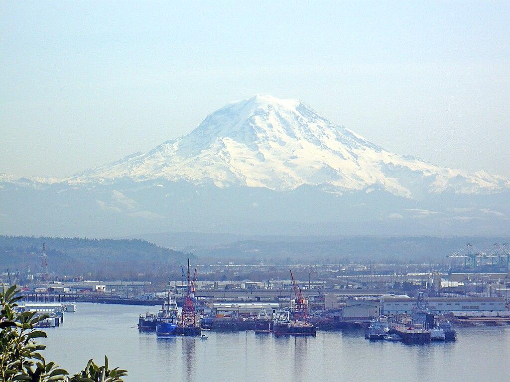 Mount Rainier overlooking the Port of Tacoma