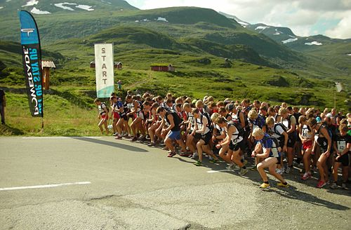 The start of a mountain running championship in Norway Mountain running.JPG