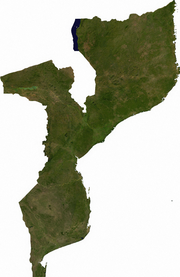 Satellite image of Mozambique, generated from raster graphics data supplied by The Map Library