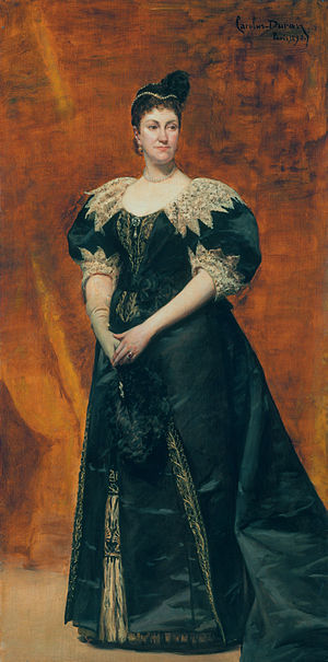 High society (social class) - Mrs. William Astor painted by Carolus-Duran in 1890, presented at the 1894 Great Portrait Exhibition