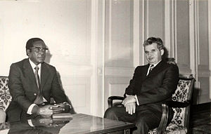 Robert Mugabe - Mugabe in a meeting with Romanian communist leader Nicolae Ceaușescu in 1979