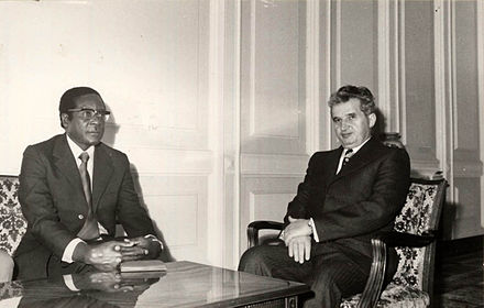 Mugabe in a meeting with Romanian communist leader Nicolae Ceausescu in 1979 Mugabe76Romania.jpg