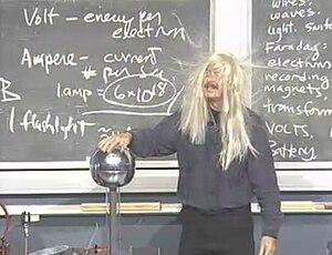Richard A. Muller - Muller demos a Van de Graaff generator