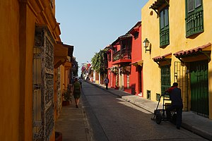 Multicolored street in Cartagena.JPG