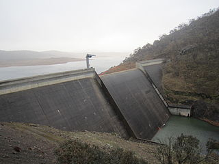 Tantangara Dam dam in Snowy Mountains, New South Wales