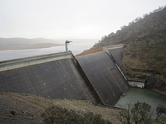 Tantangara Dam - Tantangara Dam and spillway across the Murrumbidgee River, 2010.