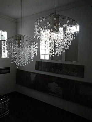 Windowpane oyster - A decorative mobile using capiz shells at the Museo de San Pablo in San Pablo, Laguna, Philippines.