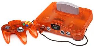 Nintendo 64 - A Nintendo 64 console and controller in Fire-Orange color