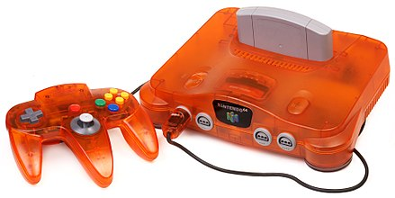 A Nintendo 64 console and controller in Fire-Orange color N64-Console-Orange.jpg